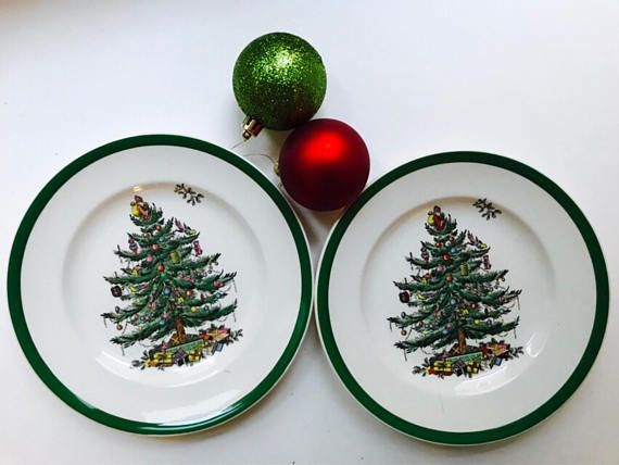 Spode Christmas Tree Salad/Dessert/Lunch plates Set of 2 Made in