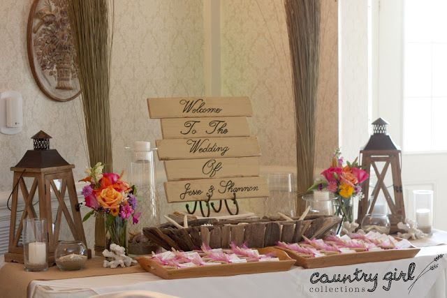 Beach Wedding Welcome Table Décor by Country Girl Collections