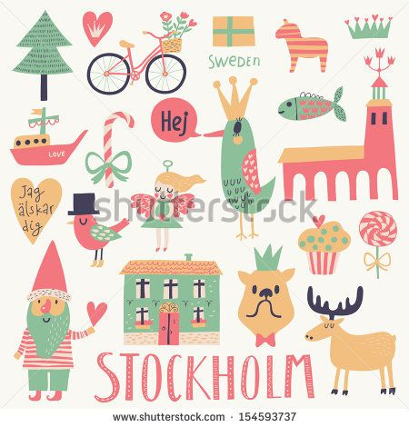 Stockholm Sweden set in vector. Cute stylish scandinavian set with ...