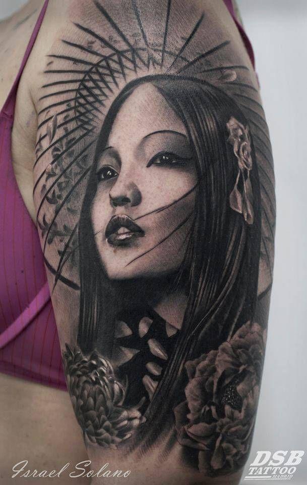 Tatuaje De Estilo Black And Grey De Una Geisha Situado En El Brazo