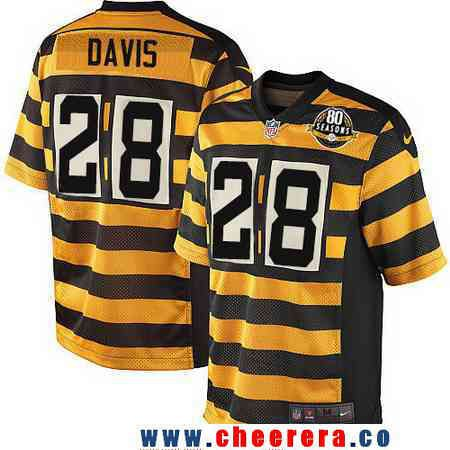 dc6812df81b Men s Pittsburgh Steelers  28 Sean Davis Yellow With Black Bumblebee 80th  Patch Stitched NFL Nike Elite Jersey