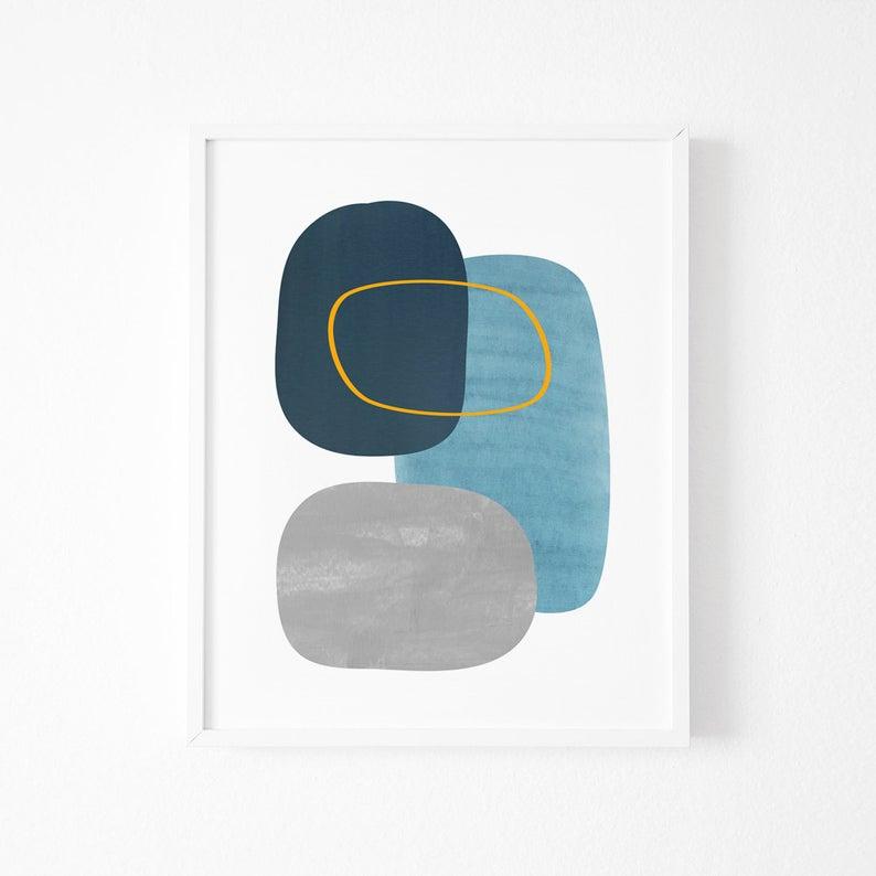 Mid Century Art Blue Modern Art Abstract Shapes Etsy In 2021 Blue Modern Art Modern Art Abstract Mid Century Art