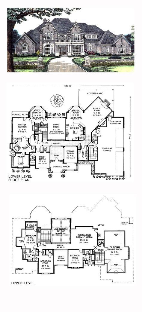Victorian Style House Plan with 5 Bed 6 Bath 4 Car Garage