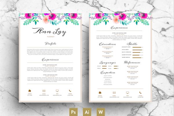 Watercolour Flower Resume Psd Random Resume Resume Templates