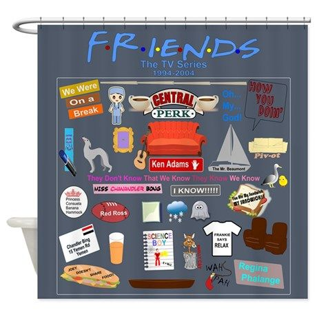 cf5c87fd52aec Friends Symbol and Quotes Shower Curtain | Friends (TV Show ...