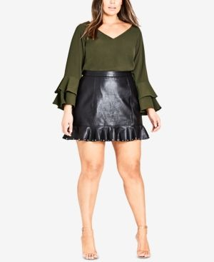 fc064c8c138ea City Chic Trendy Plus Size Ruffled Faux-Leather Skirt - Skirts - Plus Sizes  - Macy s
