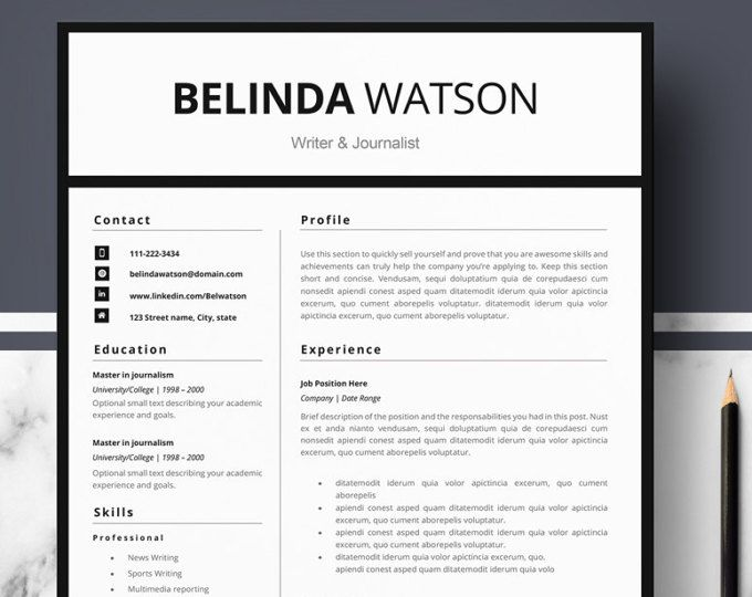 Professional Resume Template Minimalist Resume MS Word Resume - references template for resume