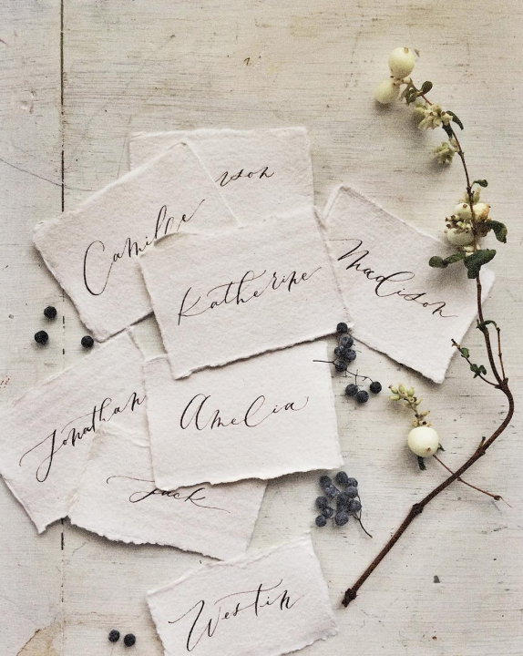 Handmade paper place cards Signora E Mare
