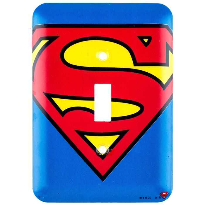 Superman Logo Tin Light Switch Plate ⎜Open Road Brands | Soaring ...
