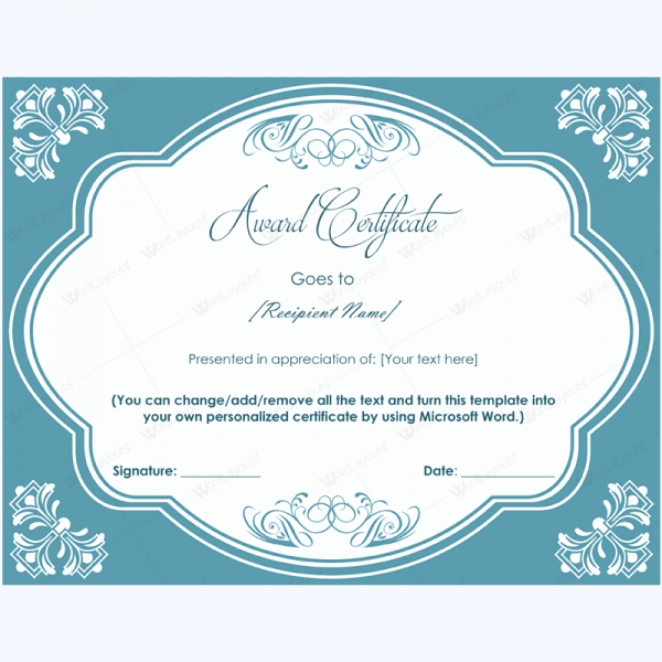Elegant Award Certificate Template Awardcertificatetemplate