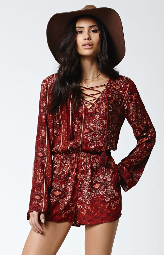 a064b05072f2 Kendall   Kylie Lace-Up Long Sleeve Romper at PacSun.com