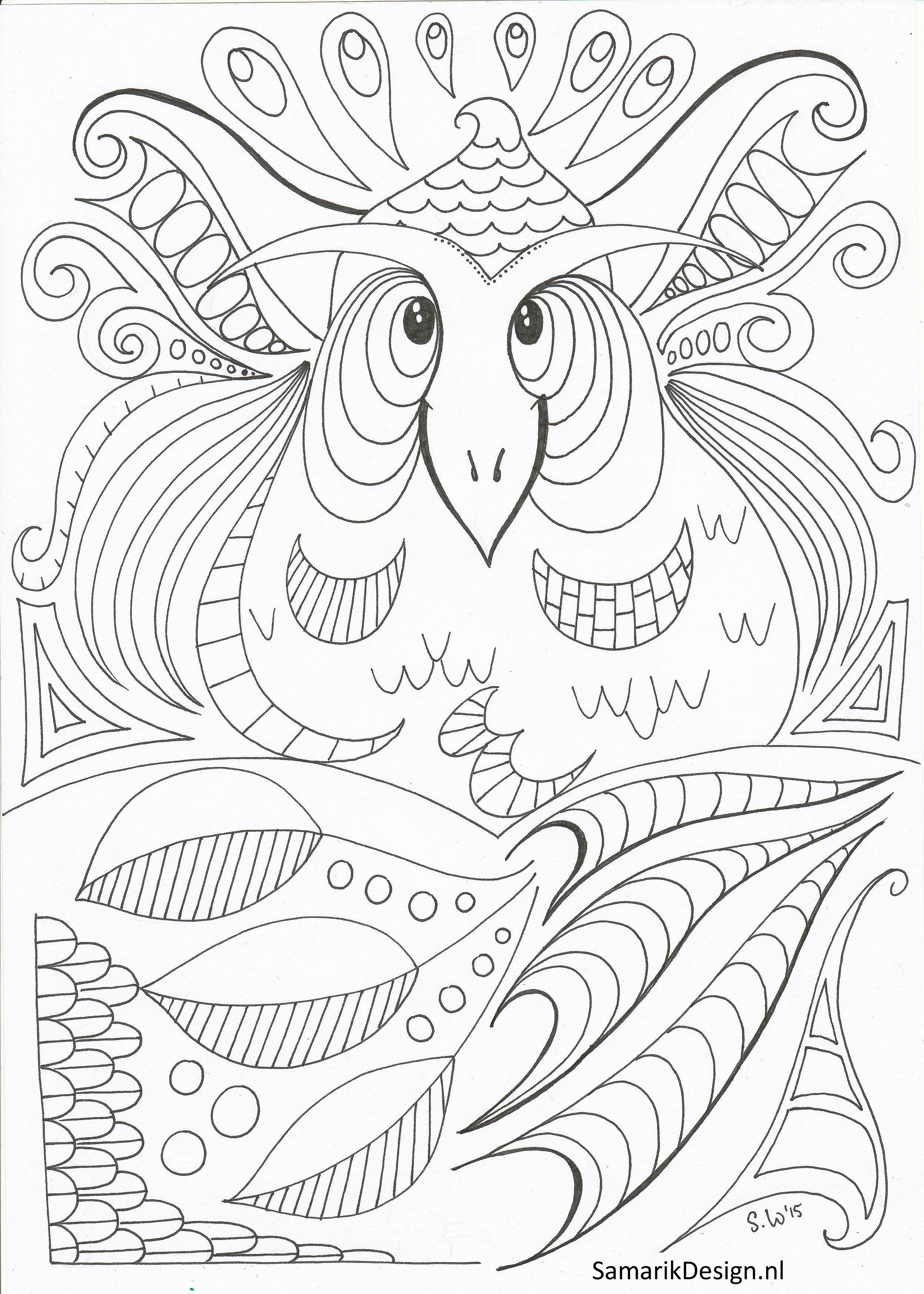 Kleurplaat voor volwassenen. Owl | coloring pages owls y otros ...
