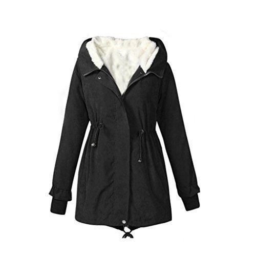 TOOPOOT Ladies Hooded Parka Winter Warm Long Jacket CoatS 4L Black ** For more information, visit image link.