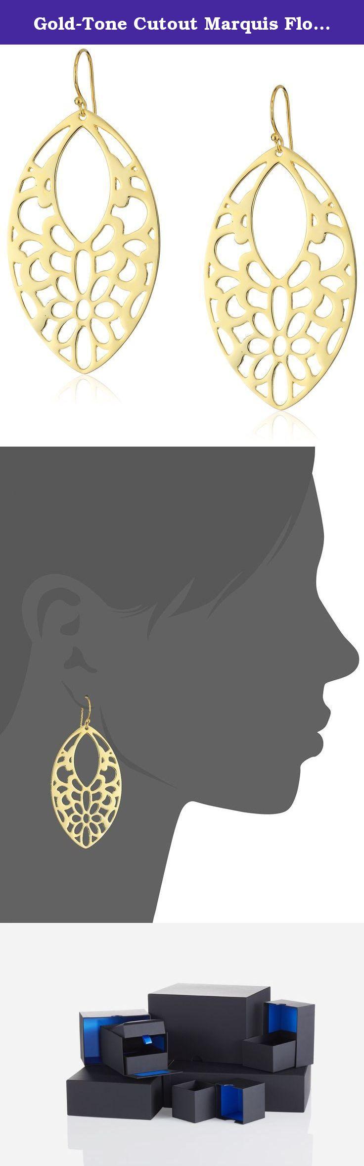 Gold-Tone Cutout Marquis Flower Drop Earrings. Gold-tone earrings in marquis shape featuring floral cutouts. Fishhook closure. Imported.
