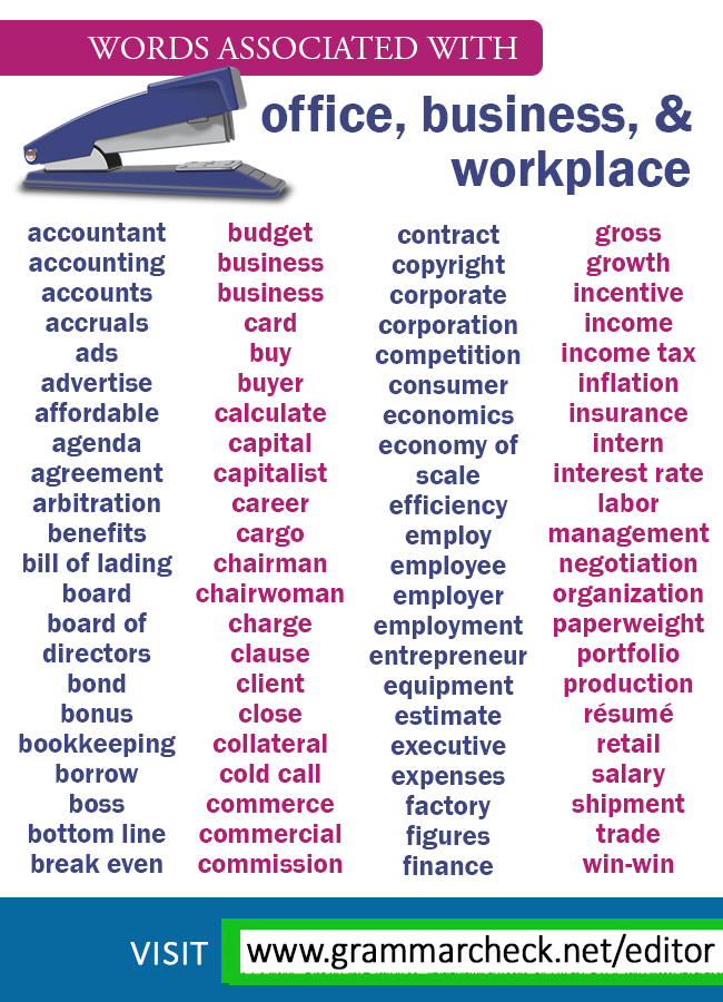 Words Associated With Office Business And Workplace Palabras Basicas En Ingles Vocabulario En Ingles Palabras De Vocabulario