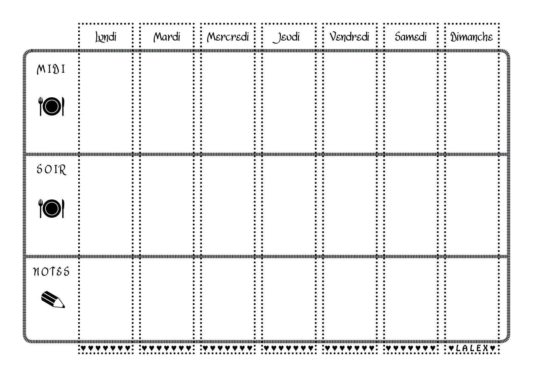 Préférence Planning vierge menu de la semaine | Planning vierge, Modèle et  AO82