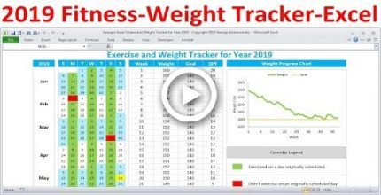 Fitness Tracker and Weight Loss Tracker for 2019 - Workout Planner Weight Tracker - Excel ,  #Excel...