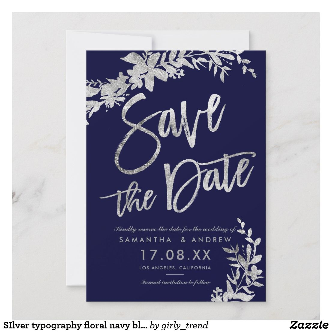 Silver Typography Floral Navy Blue Save The Date Zazzle Co Uk Blue Save The Dates Silver Typography Navy Blue Wedding Invitations
