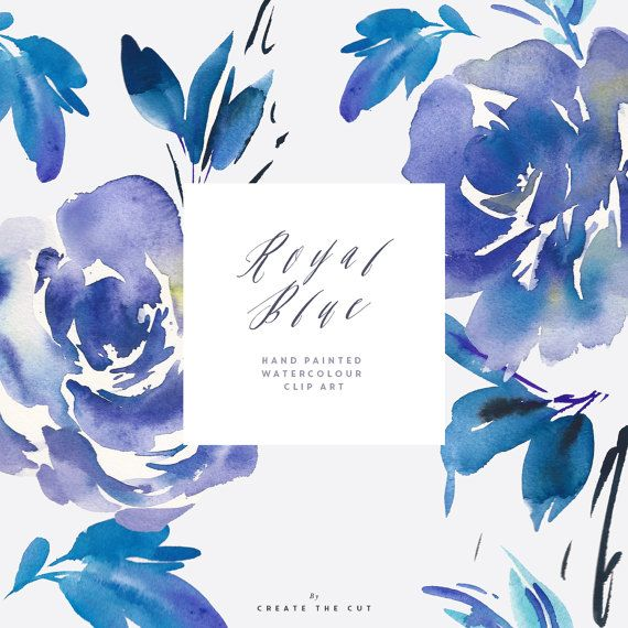 Digi Image Watercolour Flower Clipart Royal Blue Flowers