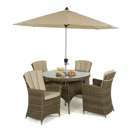 Winchester 4 asiento redondo Juego de comedor con sillas Carver ...