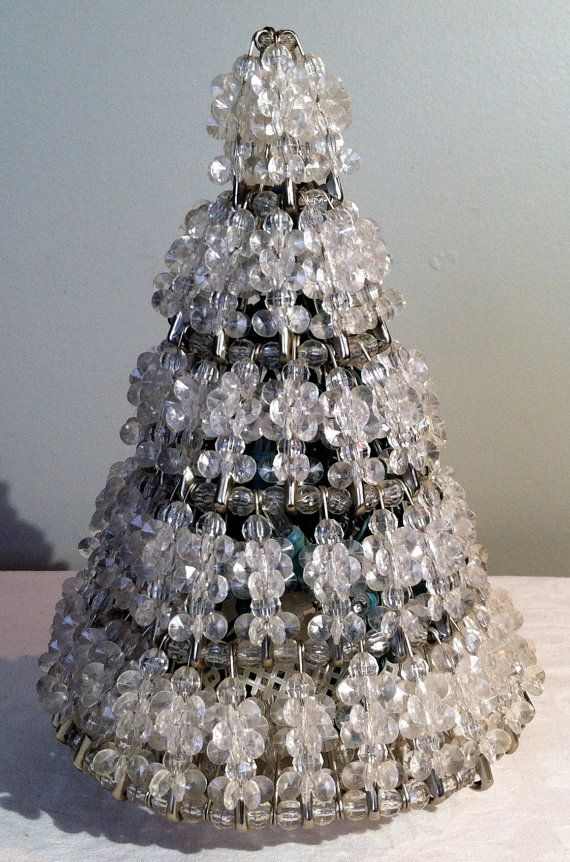 Handmade Vintage Safety Pin And Beaded Christmas Tree By Votava