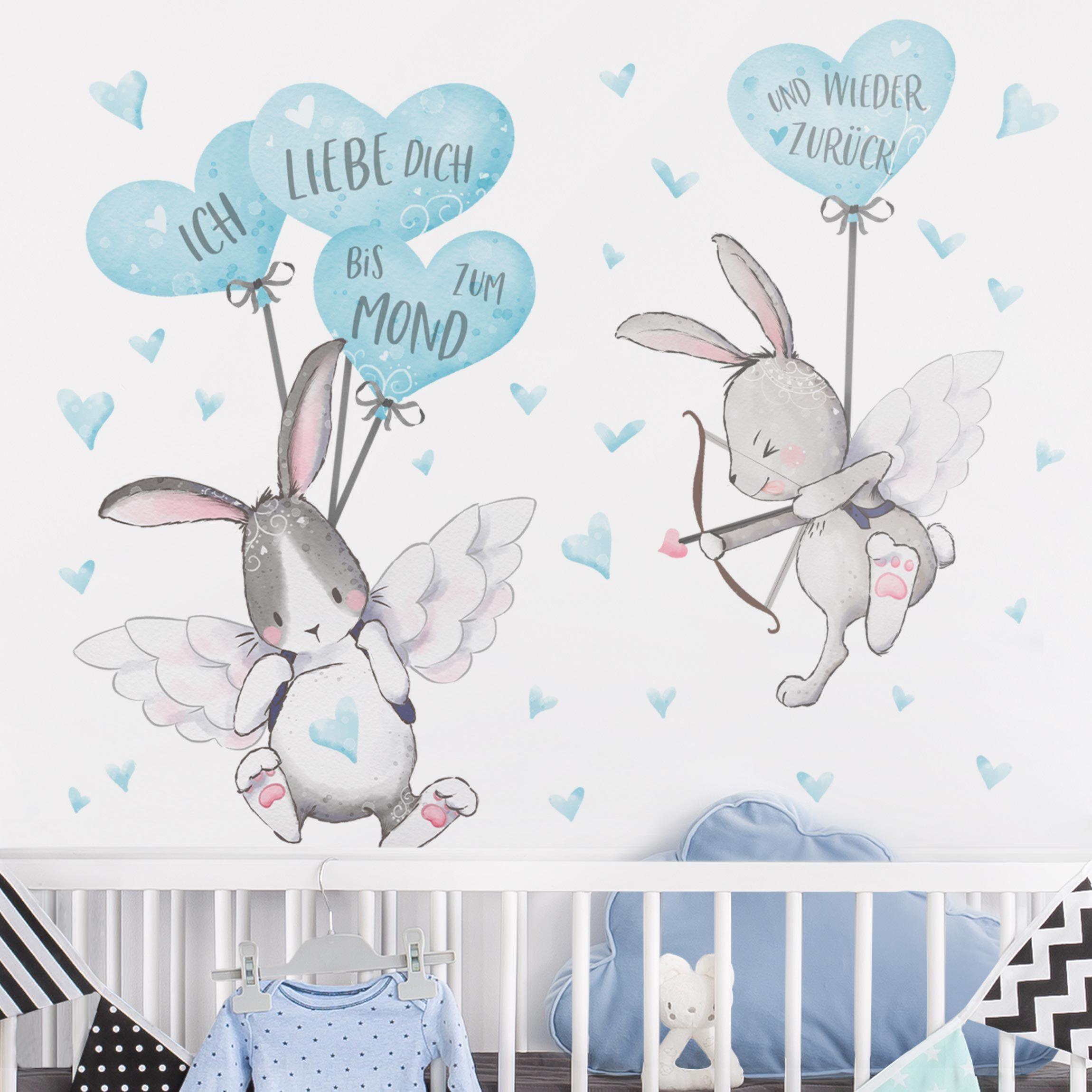 Wandtattoo Ich Liebe Dich Hasen Blau In 2020 Wandtattoo Kinderzimmer Wandtattoo Babyzimmer Wandgestaltung