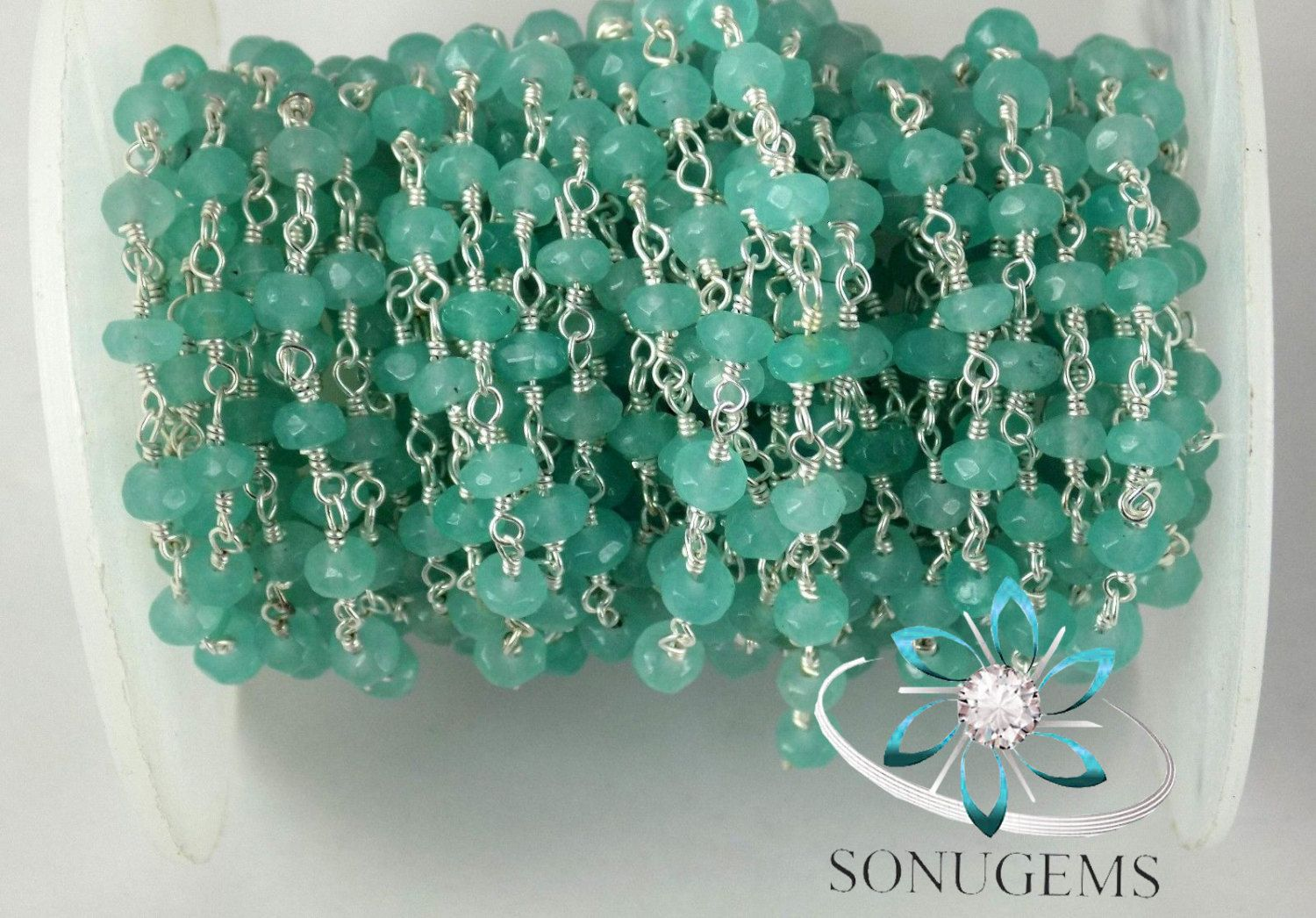 10 Feet Apatite Chalcedony Faceted Rosary Beaded chain 3.5-4mm 925 ...