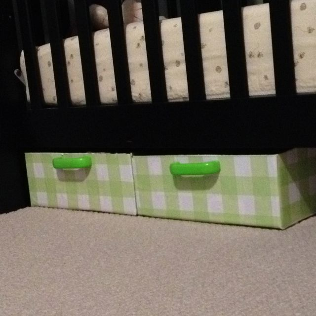 Diaper Box And Upcycled Wooden Handles For Under Crib Storage. Handles  Painted With Glow In