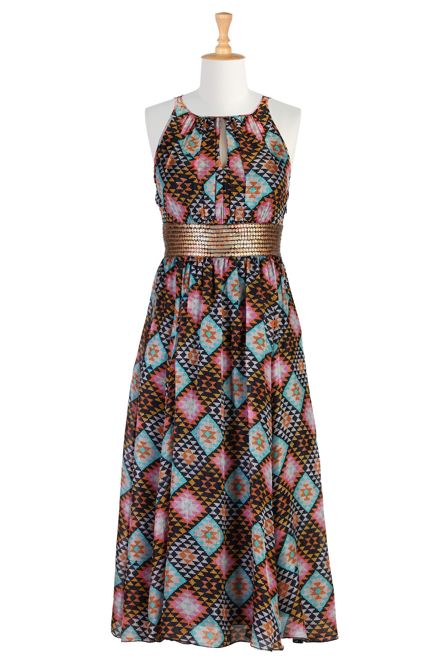 Ikat Graphic Sequined Silk Maxi Clothes Cl And Silk