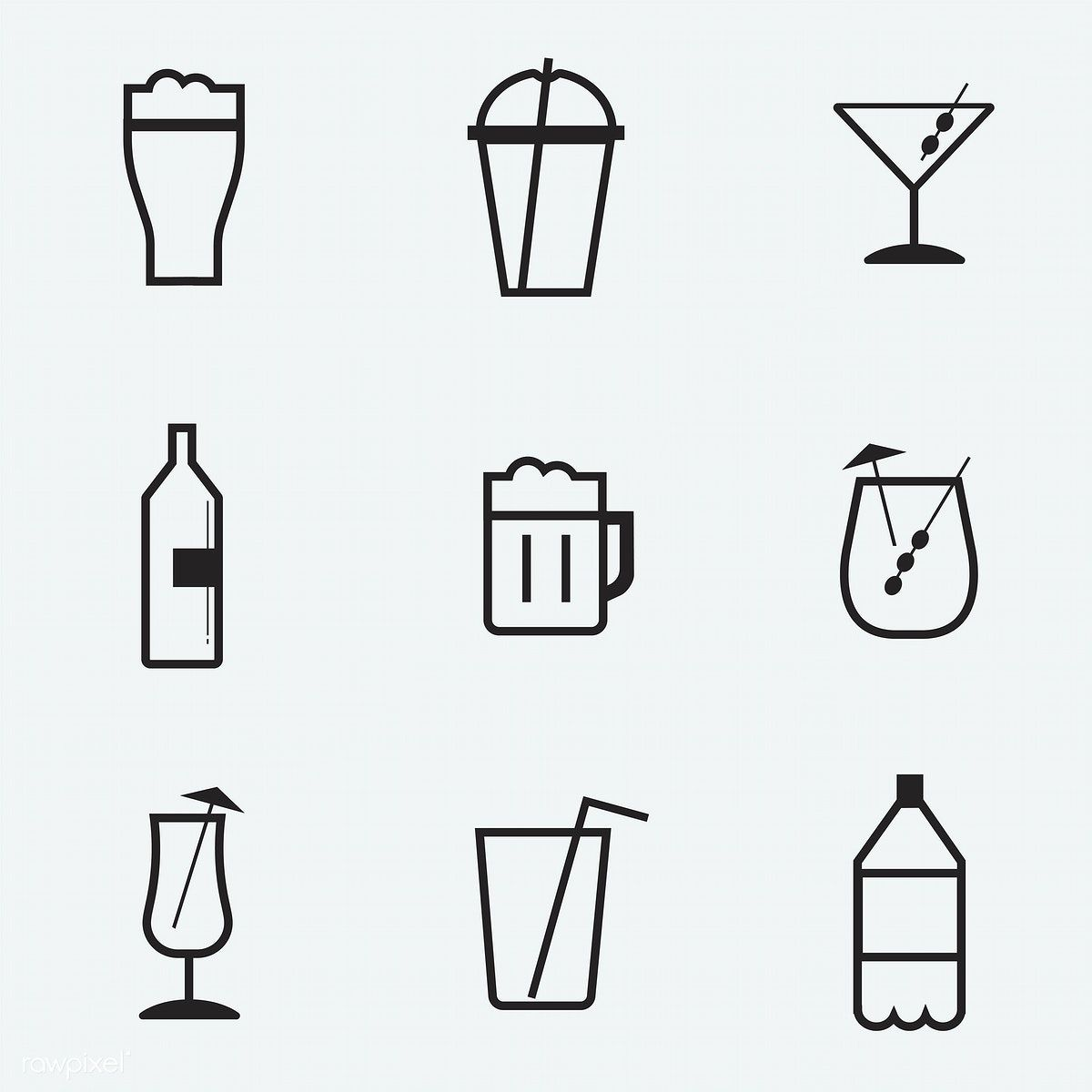 Refreshing Drinks Icons Collection Illustration Free Image By
