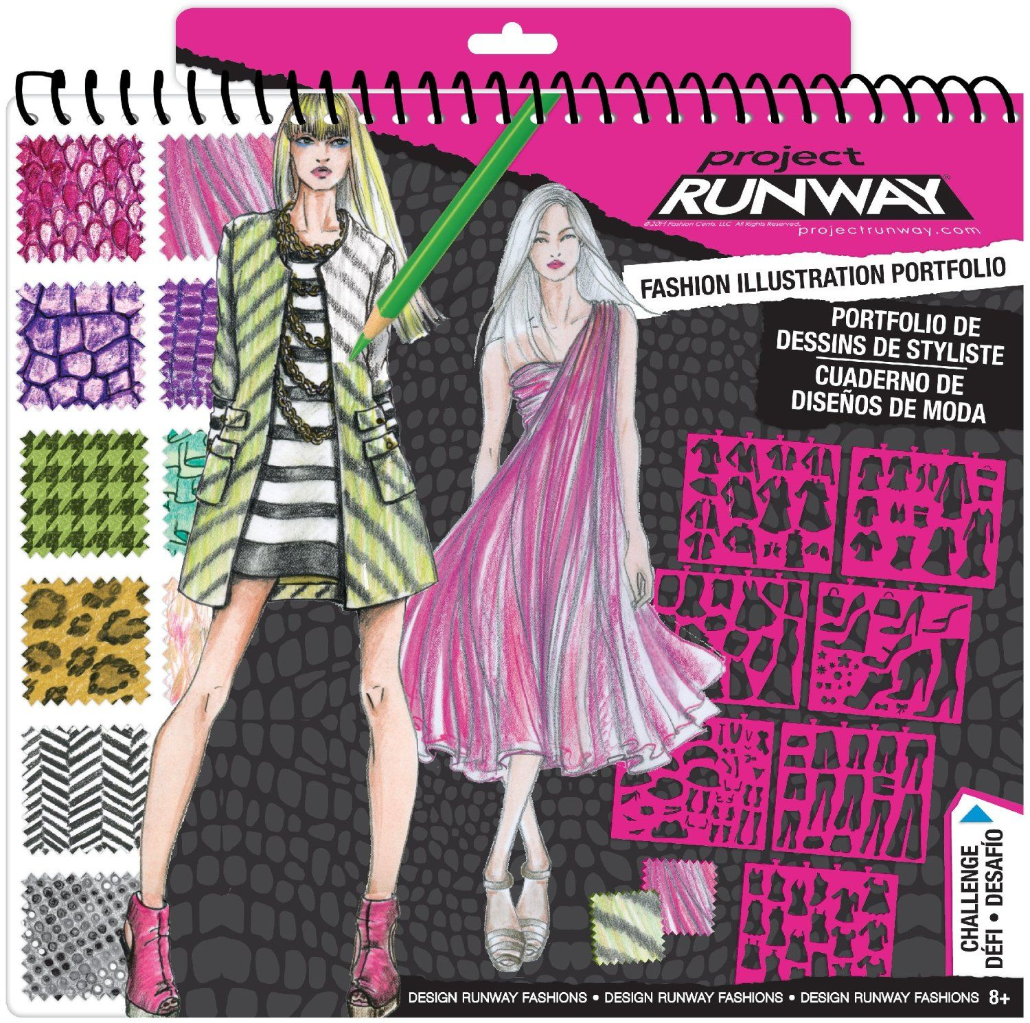 Amazon Com Project Runway Fashion Design Sketch Portfolio Toys Games Tween Girl Gifts Project Runway Fashion Illustration Portfolio