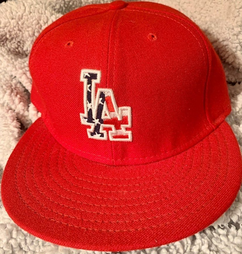Rare Ladodgers 59fifty Red Stars Stripe Baseball Hat Cap Save Sale Discount Premierproducts101 La Dodgers Red Star Fitted Hats