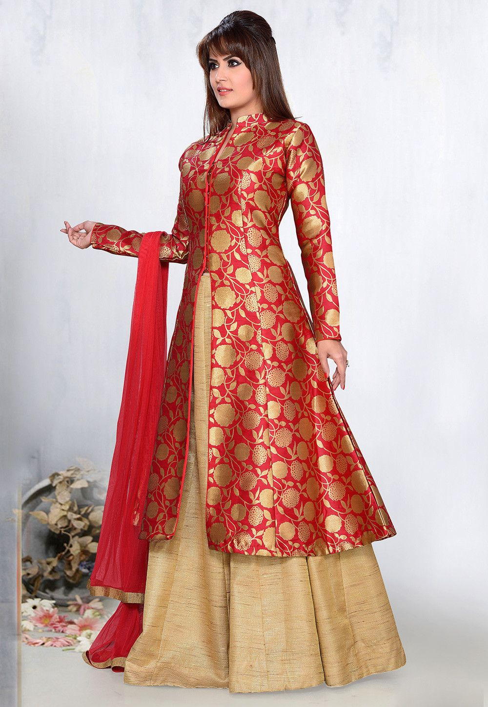 Image result for red brocade lehenga