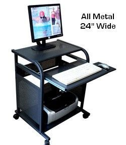 Sts5801 Metal 24 Inch Wide All Narrow Computer Cart Black