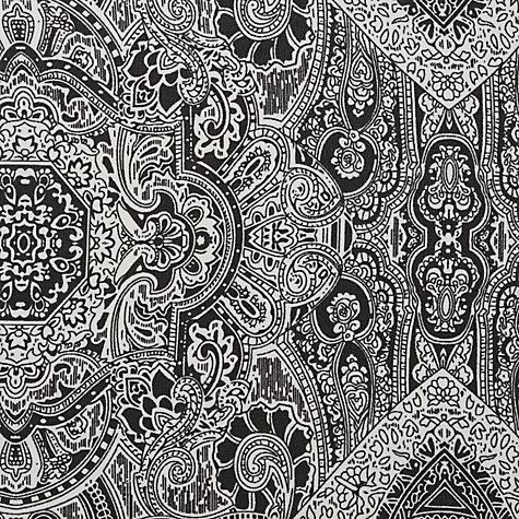 Buy aztec paisley print fabric black white online at johnlewis com