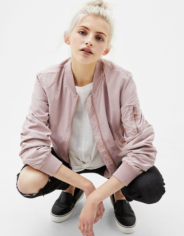 Blusão bomber soft Jackets, Bomber jacket, Clothes for women