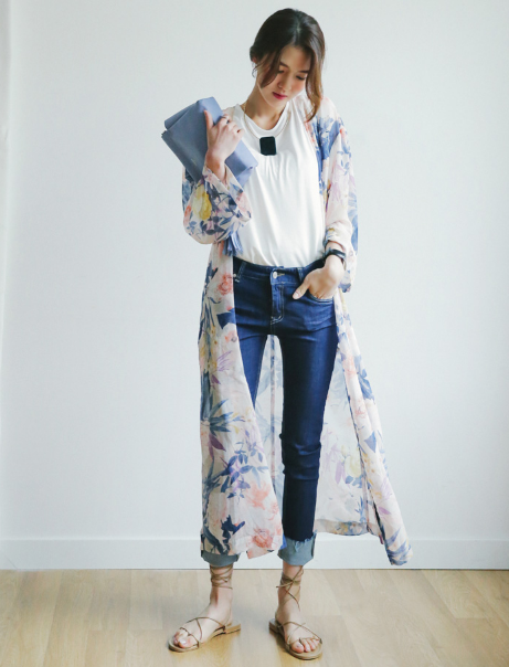 This Floral Chiffon Long Cardigan features an allover floral print ...