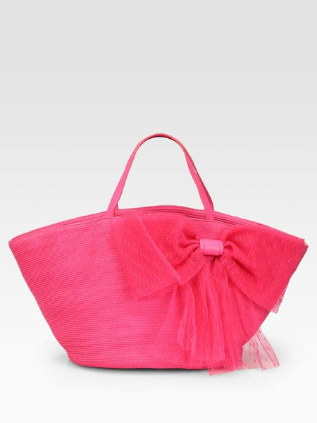6591ff269 RED VALENTINO Straw Beach Tote - Lyst - put a bow on it   Sewing ...