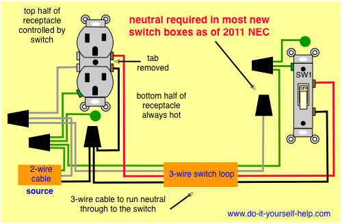 new diagram, split receptacle Outlet wiring, Light