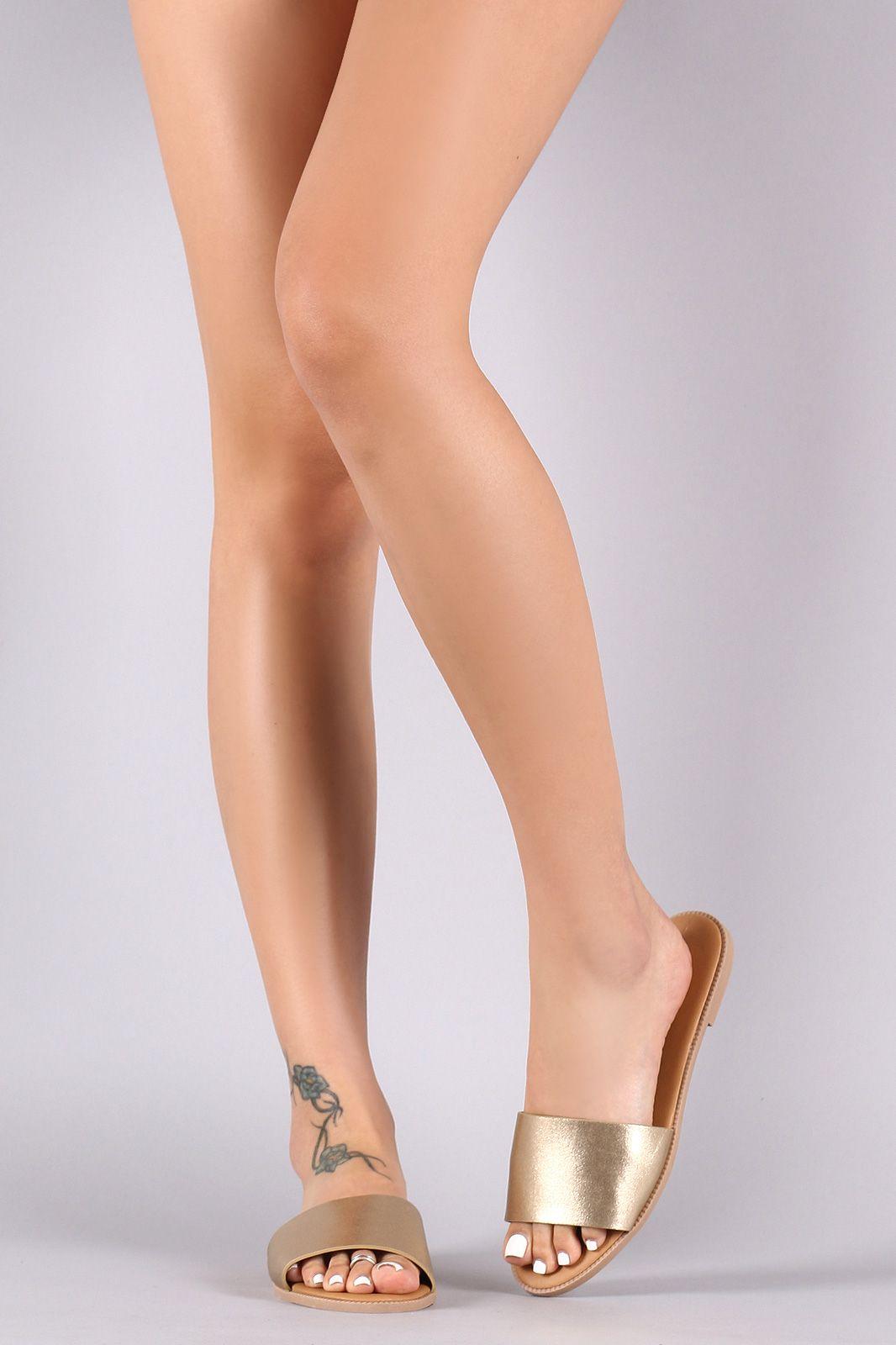 8e5ef41330767c Qupid Metallic Vegan Leather Slide Sandal
