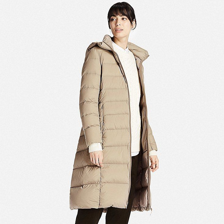 Women ultra light down stretch long coat   Coats, Large and Ad