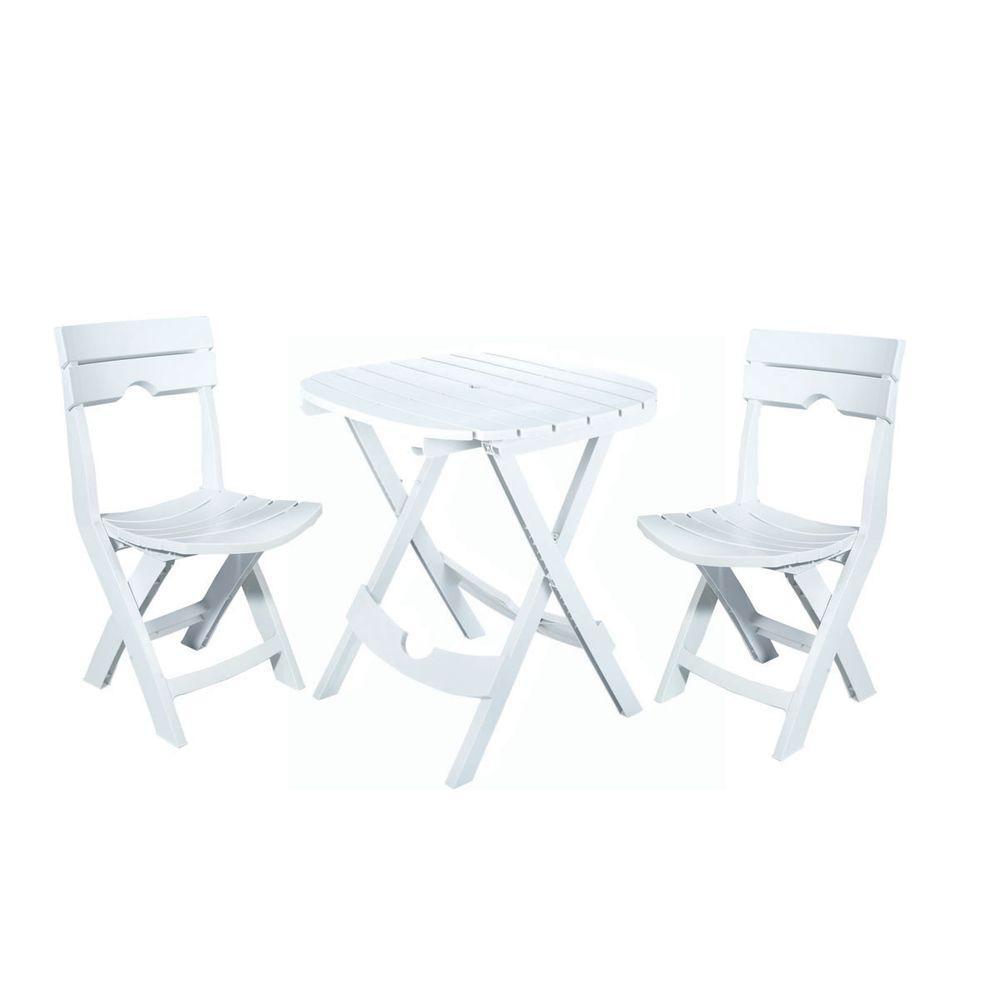 Adams Manufacturing Quik-Fold White 3-Piece Resin Plastic Outdoor Bistro Cafe Set #resinpatiofurniture