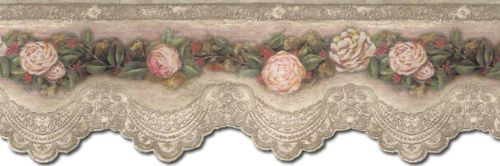 VICTORIAN ROSE & LACE Wallpaper Border VIN7318DB Lace