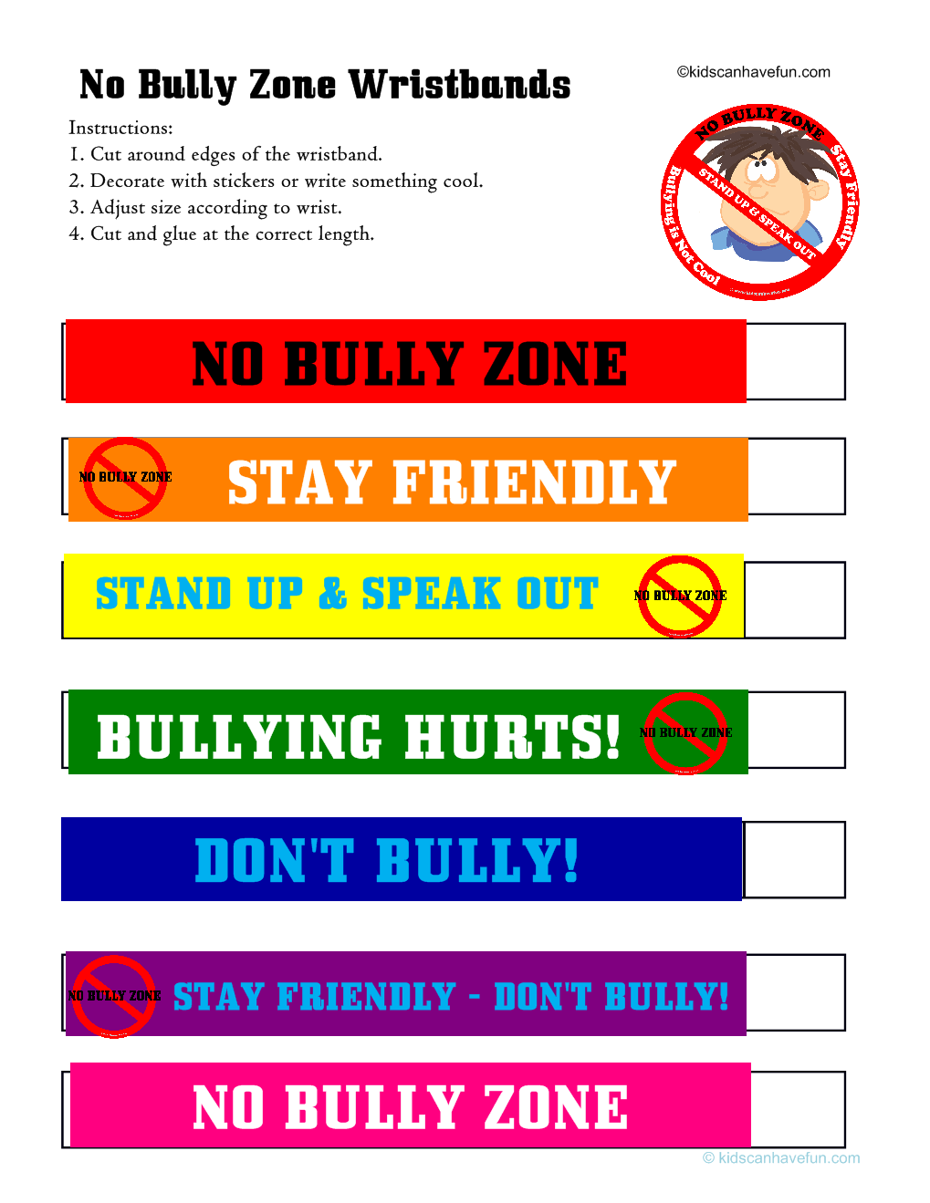 No Bully Zone Wristbands Anti Bullying Resources School