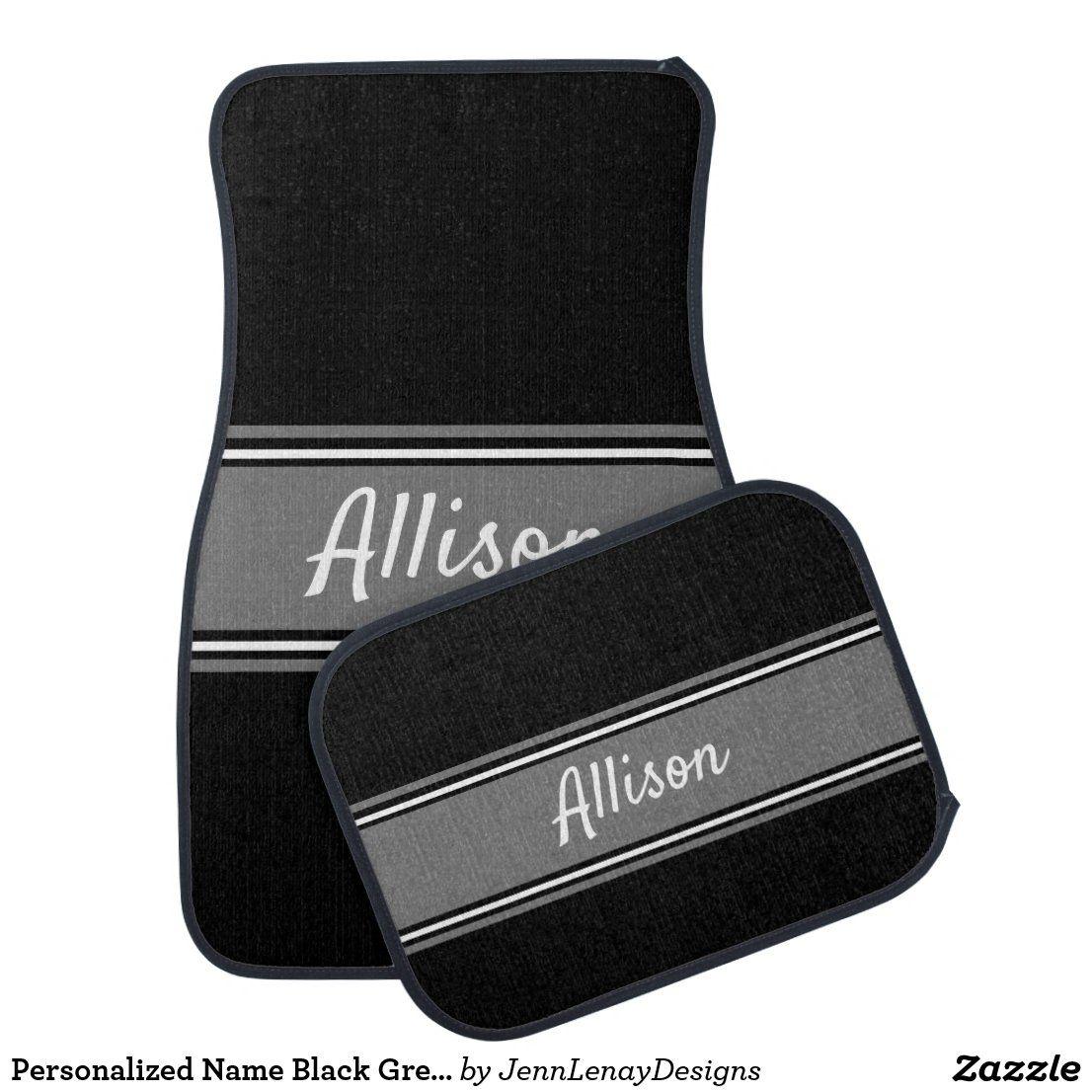 Personalized Name Black Grey Stripe Stylish Design Car