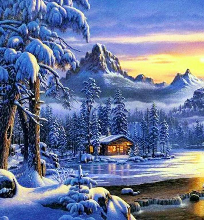 Mountain christmas вышивка