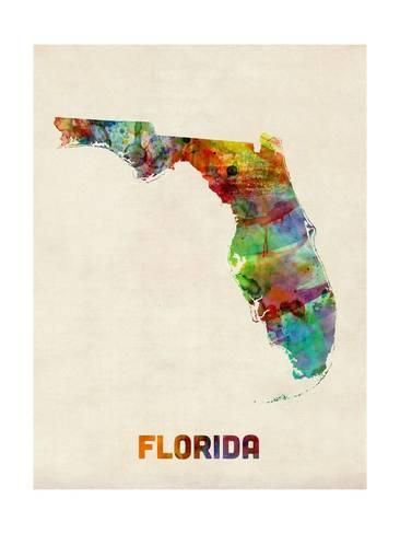 Art Print Florida Watercolor Map By Michael Tompsett 24x18in