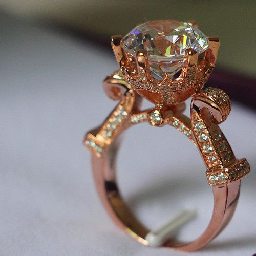 4Carat Pure Rose Gold 14K Antique Oxhead Style Unfailing Synthetic