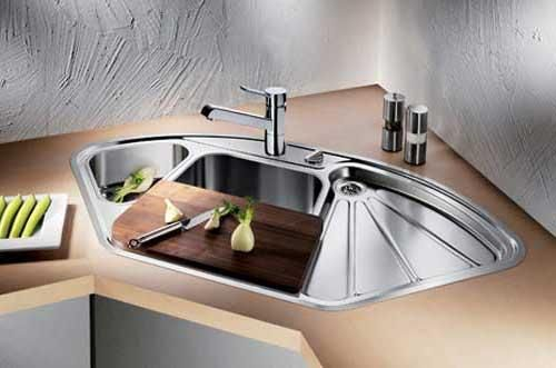 exclusive sink and cabinets in ultramodern kitchen | corner sinks for kitchens | modern an d luxury corner ...