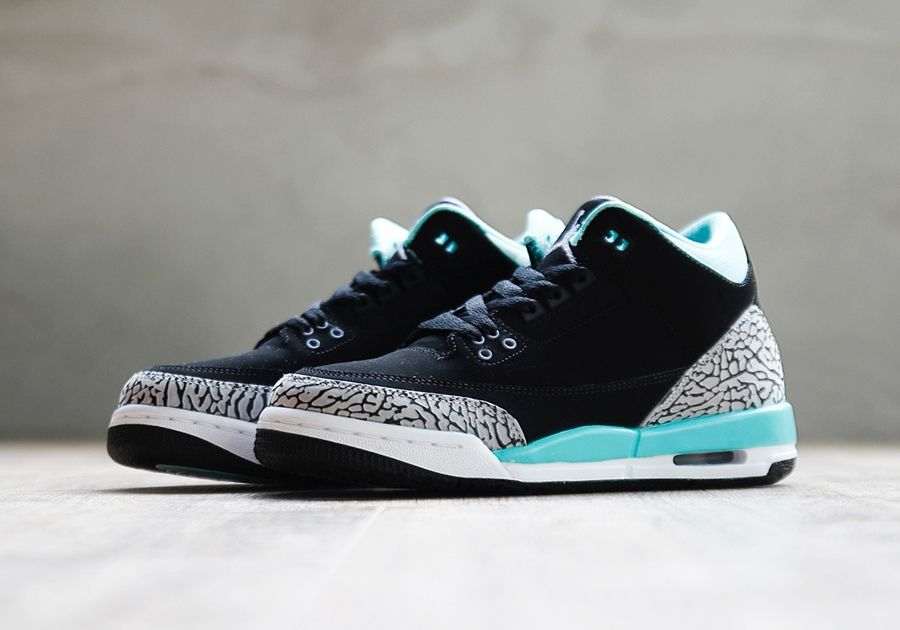 outlet store 5aea3 e9b70 air jordan 3 gs black mint grey Air Jordan 3 GS Black Mint Cement Grey